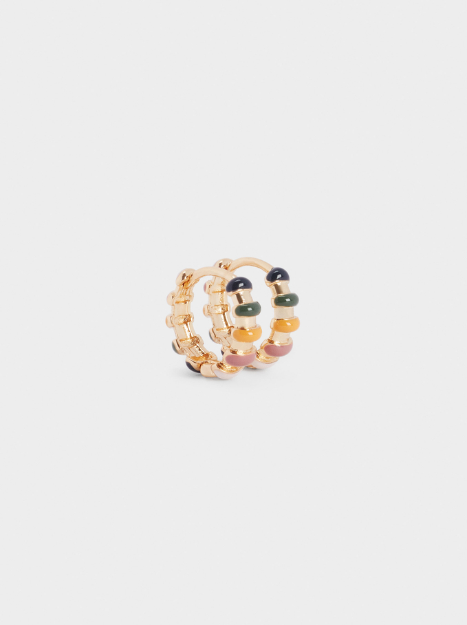 Small Hoop Earrings With Beads, Multicolor, hi-res