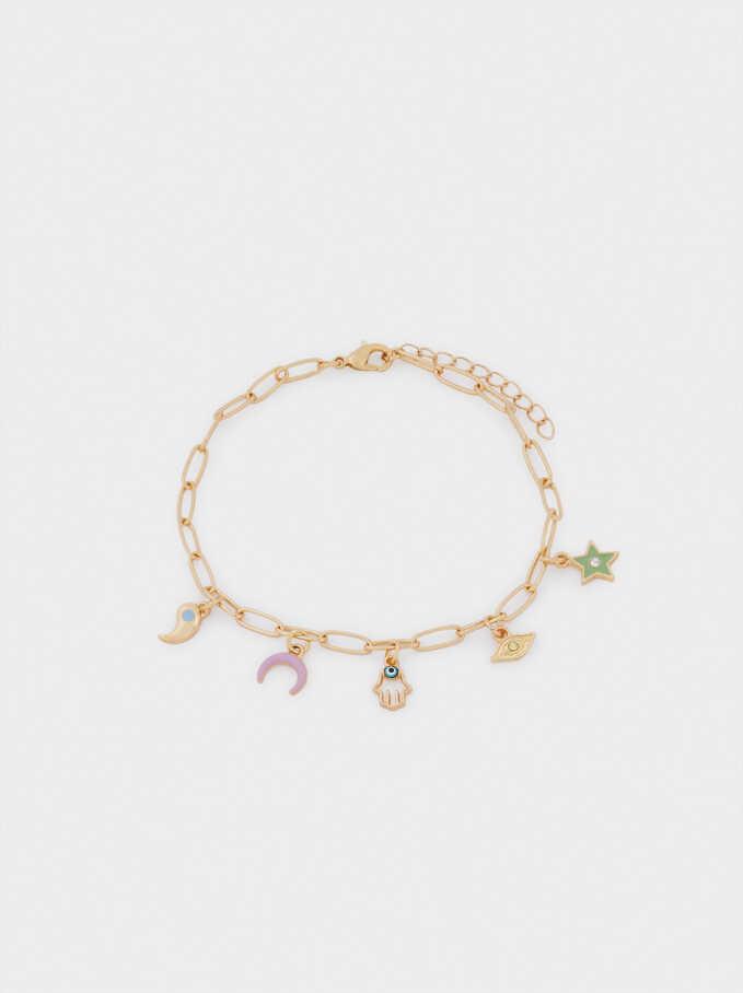 Bracelet De Cheville Avec Charms, Doré, hi-res