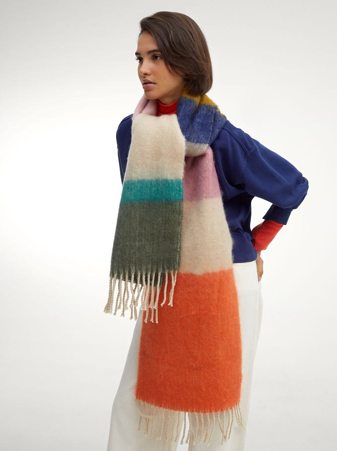 Blanket Scarf With Multicoloured Print, Multicolor, hi-res