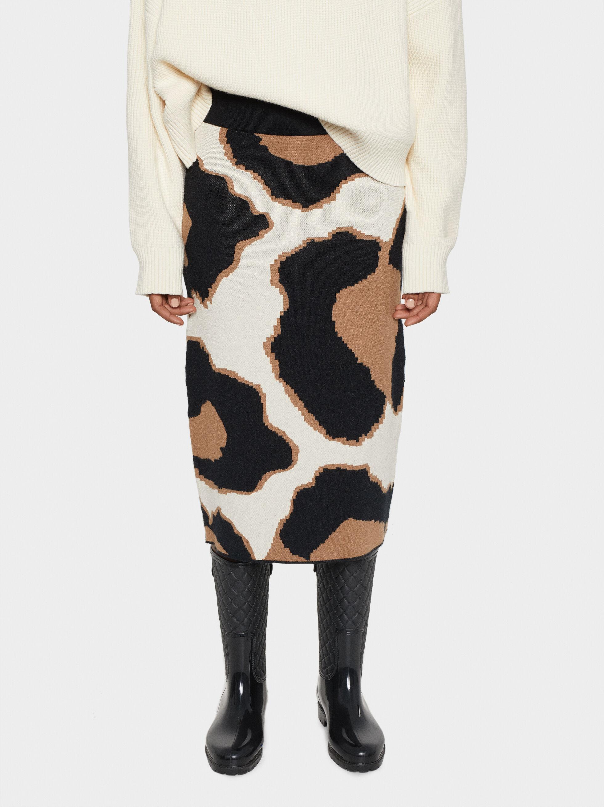 Animal Print Knit Skirt, Beige, hi-res