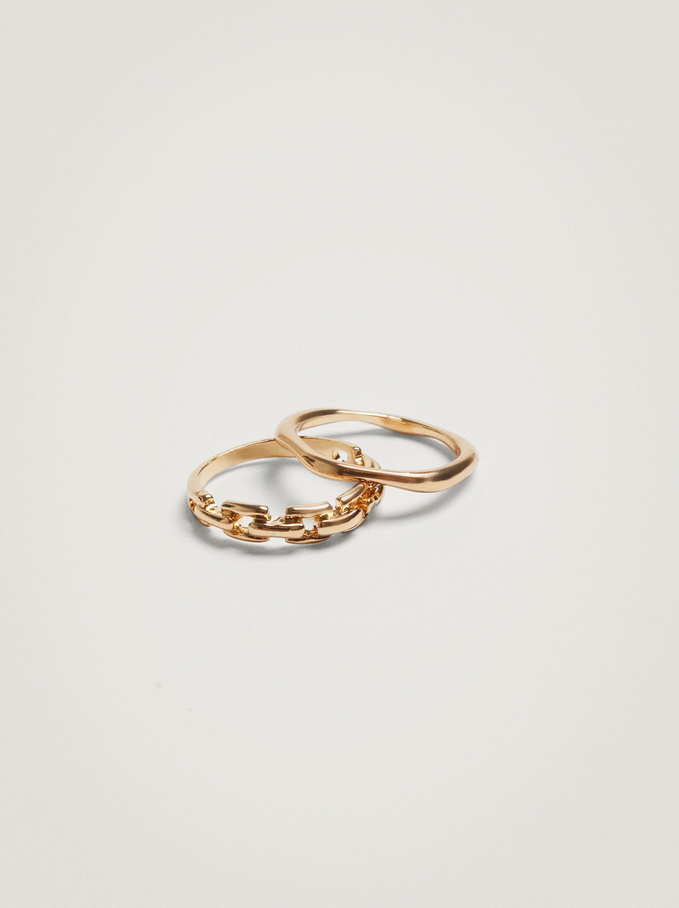 Set Of Rings With Links, Golden, hi-res
