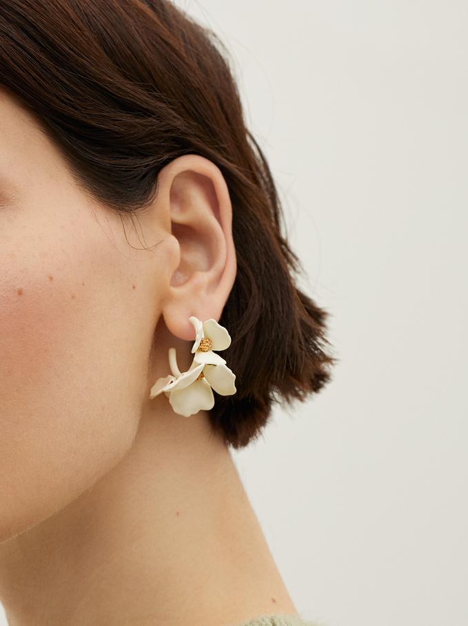 Small Flower Hoop Earrings, White, hi-res