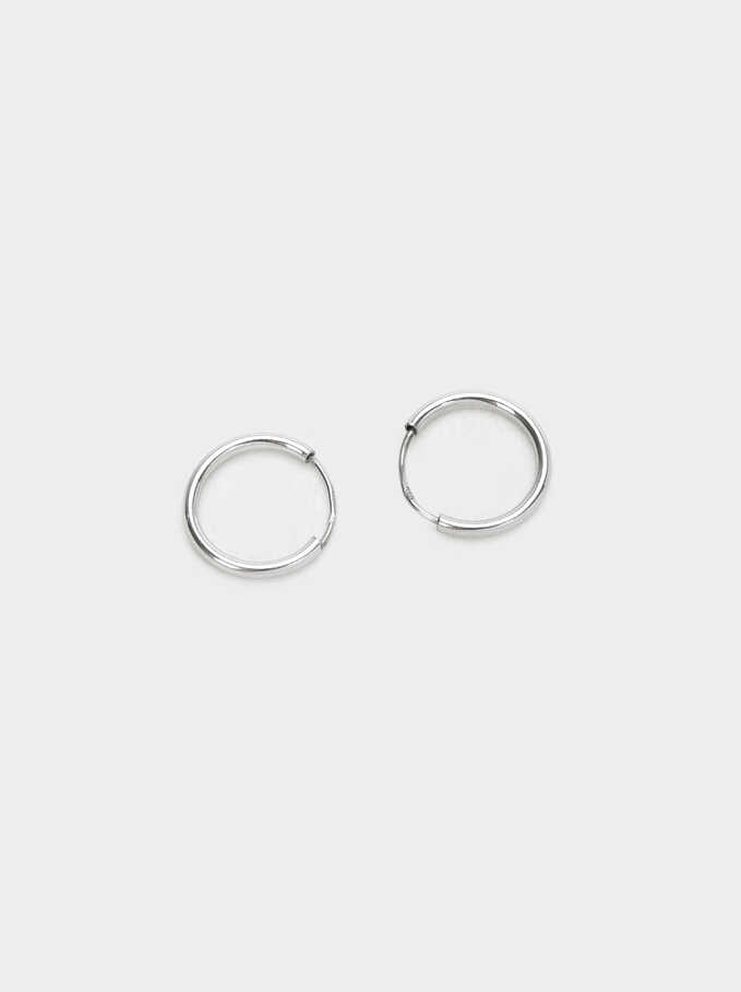 925 Sterling Silver Short Hoop-Earrings, Silver, hi-res