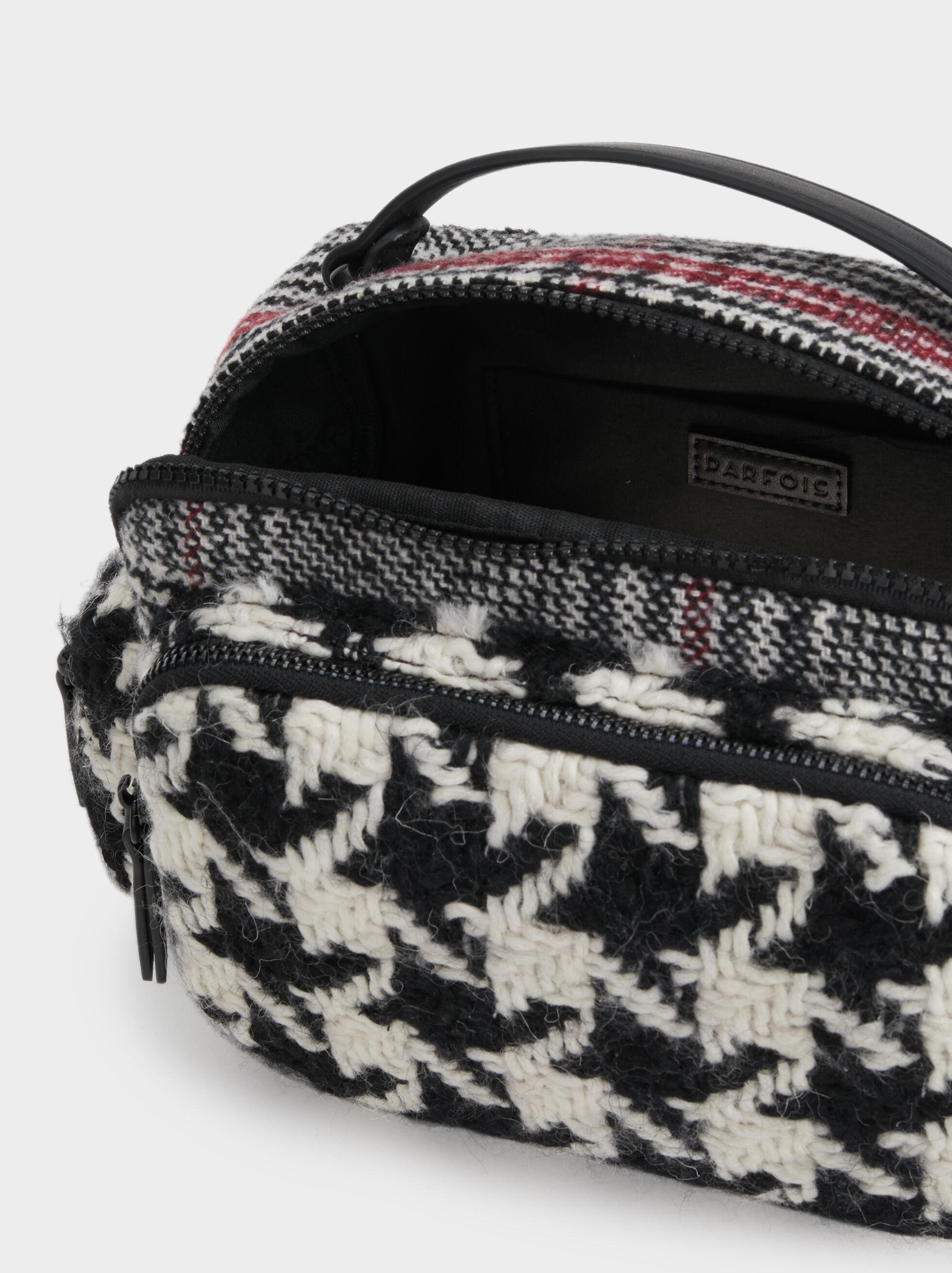Tweed Check Crossbody Bag, Black, hi-res