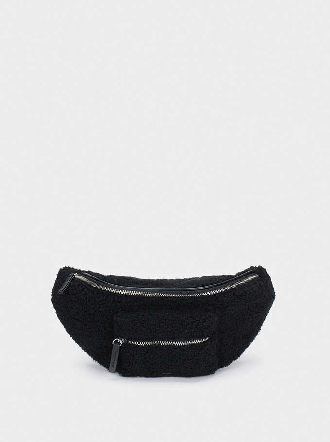 Faux Fur Belt Bag, Black, hi-res