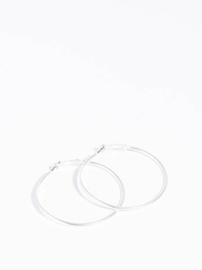 Basics Large Hoop-Earrings, Silver, hi-res