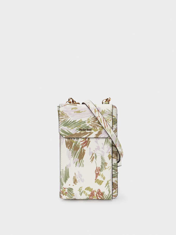Floral Print Mobile Phone Case With Crossbody Strap, Pink, hi-res