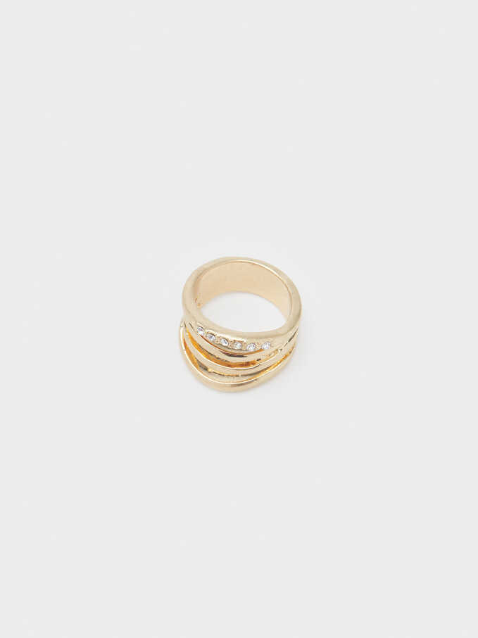 Ring With Crystals, Golden, hi-res