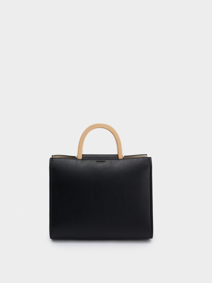 Contrasting Tote Bag With Double Handle, Black, hi-res