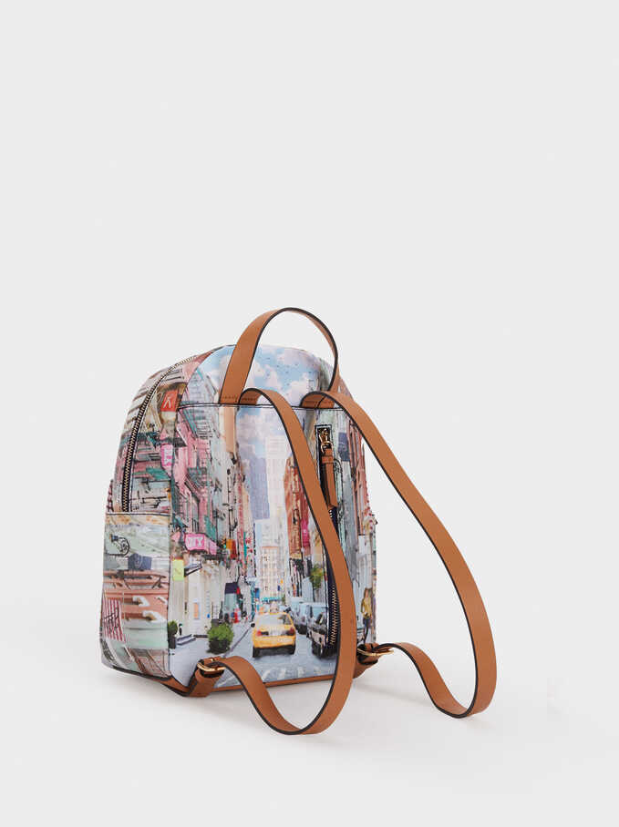 New York Print Backpack, Camel, hi-res