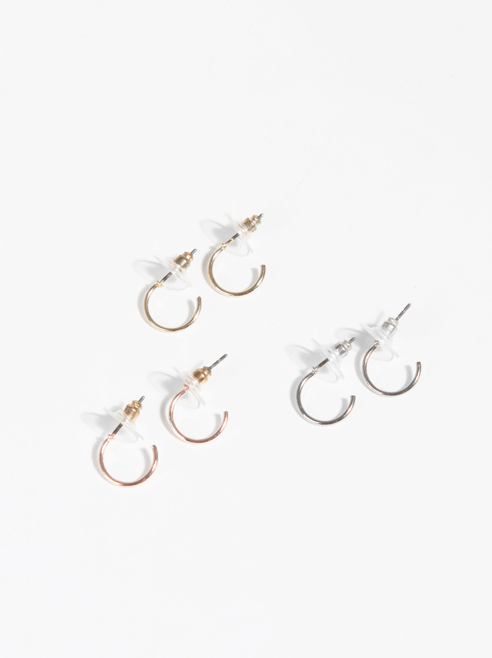 Basic Short Hoop-Earrings, Multicolor, hi-res