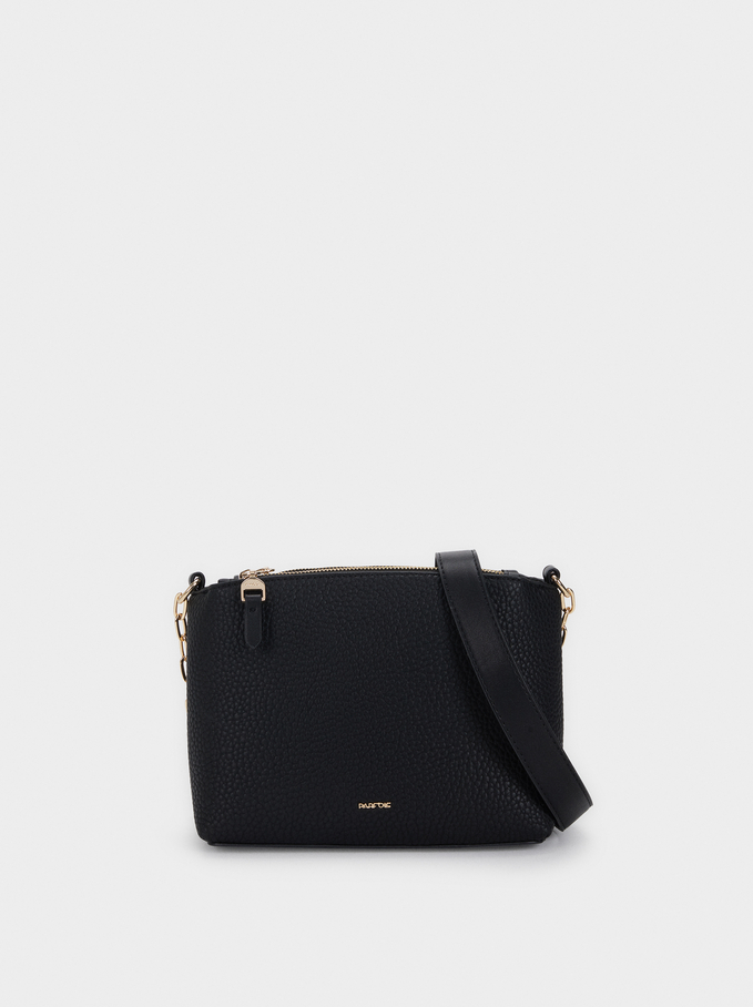 Textured Shoulder Bag, Black, hi-res