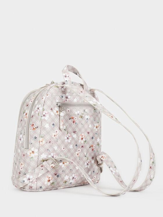 Floral Print Backpack, Ecru, hi-res