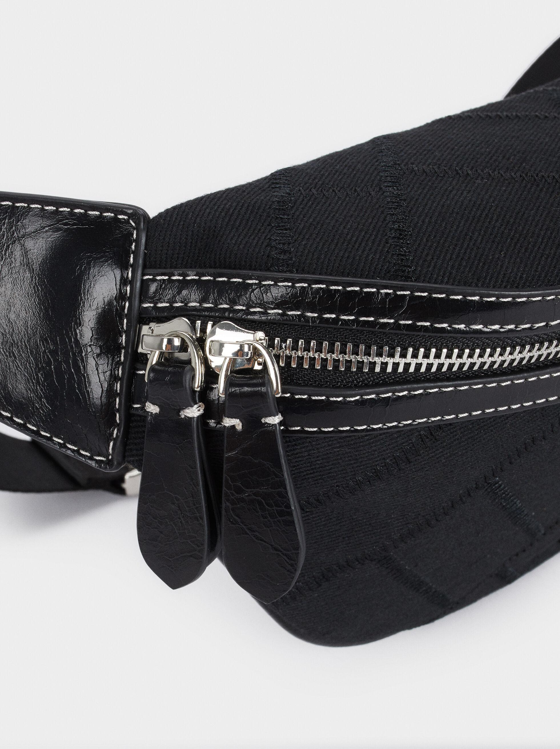 Bolsa De Cintura Com Fecho De Correr, Preto, hi-res