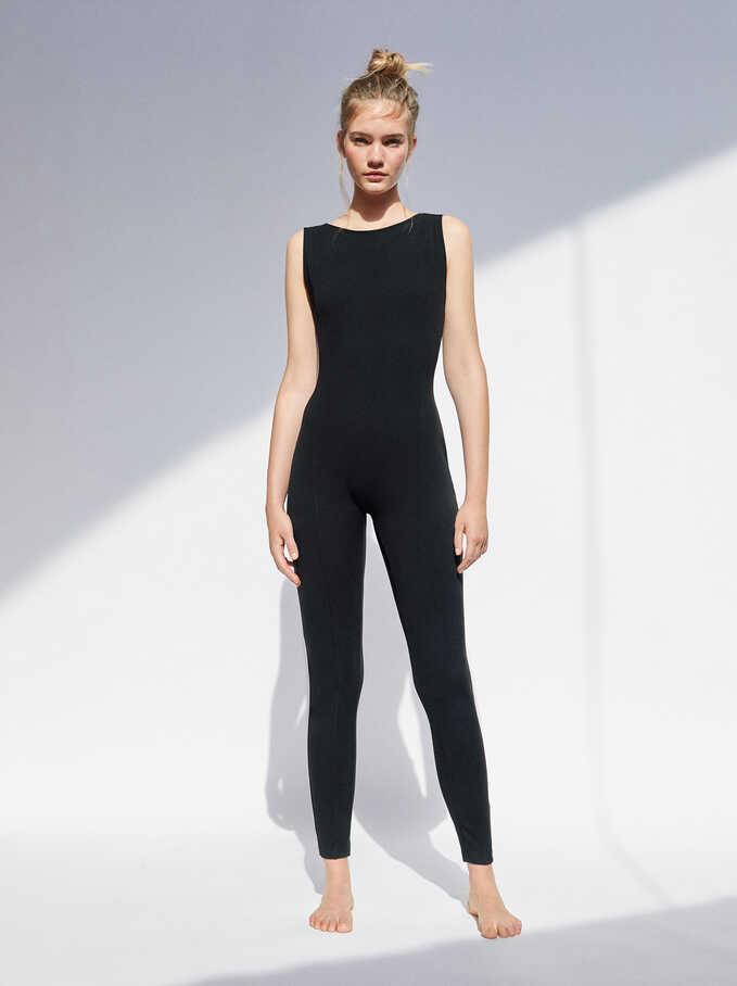 Cross Back Long Jumpsuit, Black, hi-res