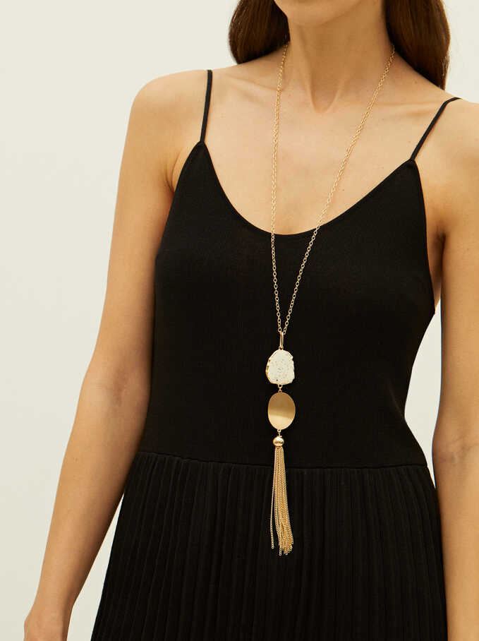 Long Necklace With Tassel, Navy, hi-res