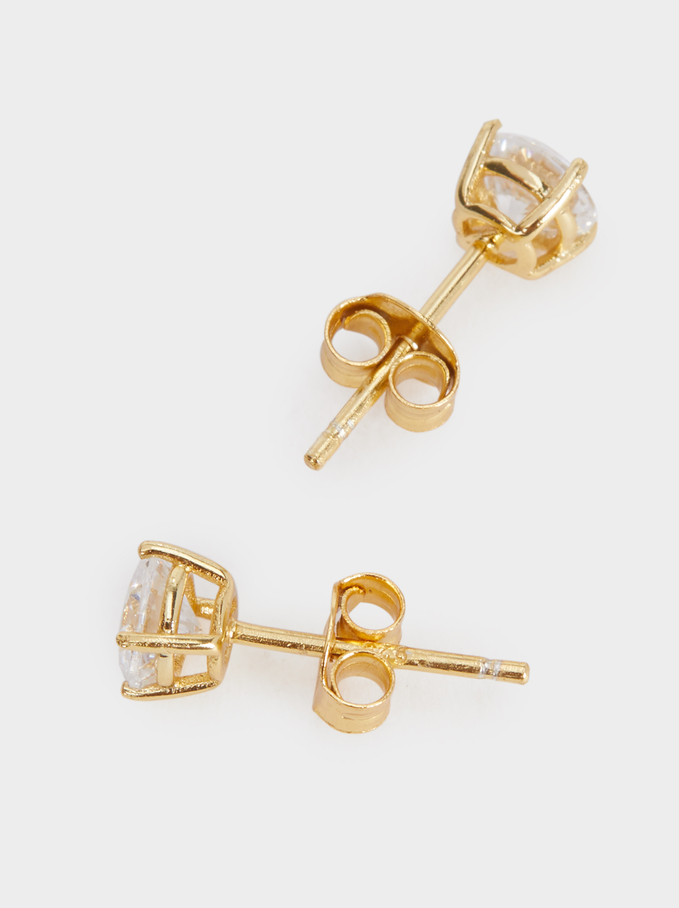 925 Silver Stud Earrings With Zirconia, Golden, hi-res
