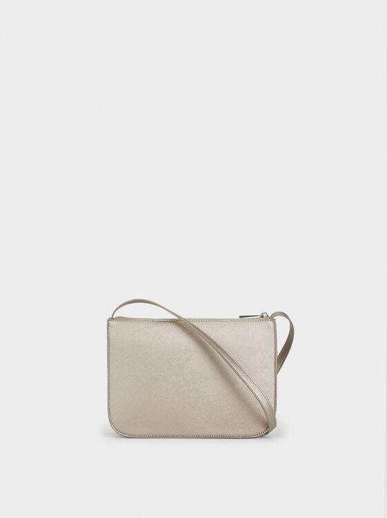 Shoulder Bag With Outer Pocket, Silver, hi-res
