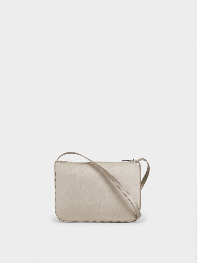 Shoulder Bag With Outer Pocket, Silver, hi-res