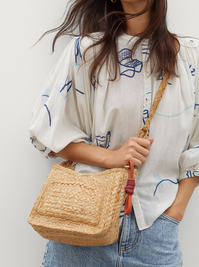 Braided Tote Bag With Pendant, Beige, hi-res