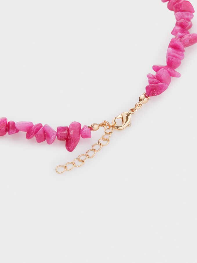 Petrified Short Beaded Necklace, Pink, hi-res