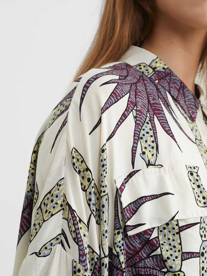 Printed Loose-Fitting Shirt, Ecru, hi-res