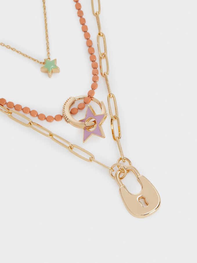 Conjunto De Collares Combinados Con Colgantes, Multicor, hi-res