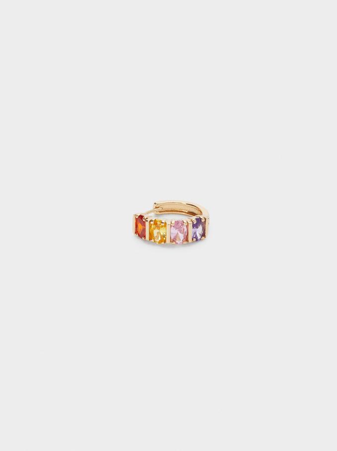 Orecchini A Cerchio Corti Con Zirconi, Multicolore, hi-res