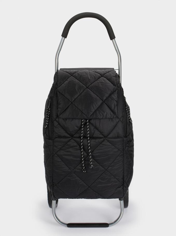 Multi-Functional Folding Shopping Trolley, Black, hi-res