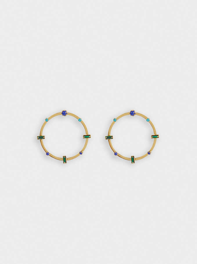 Steel Short Earrings With Stones, Multicolor, hi-res