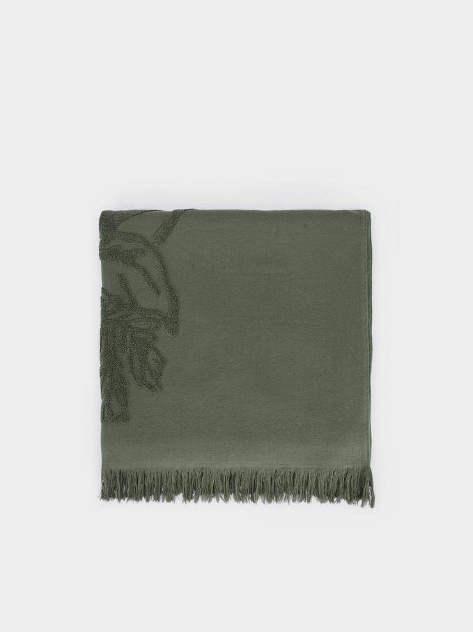 Cotton Beach Towel With A Leaf Print, Khaki, hi-res