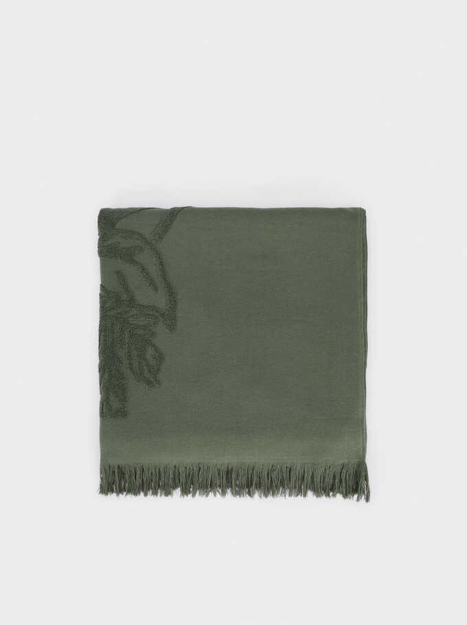 Cotton Beach Towel With A Leaf Print, Khaki, hi-res