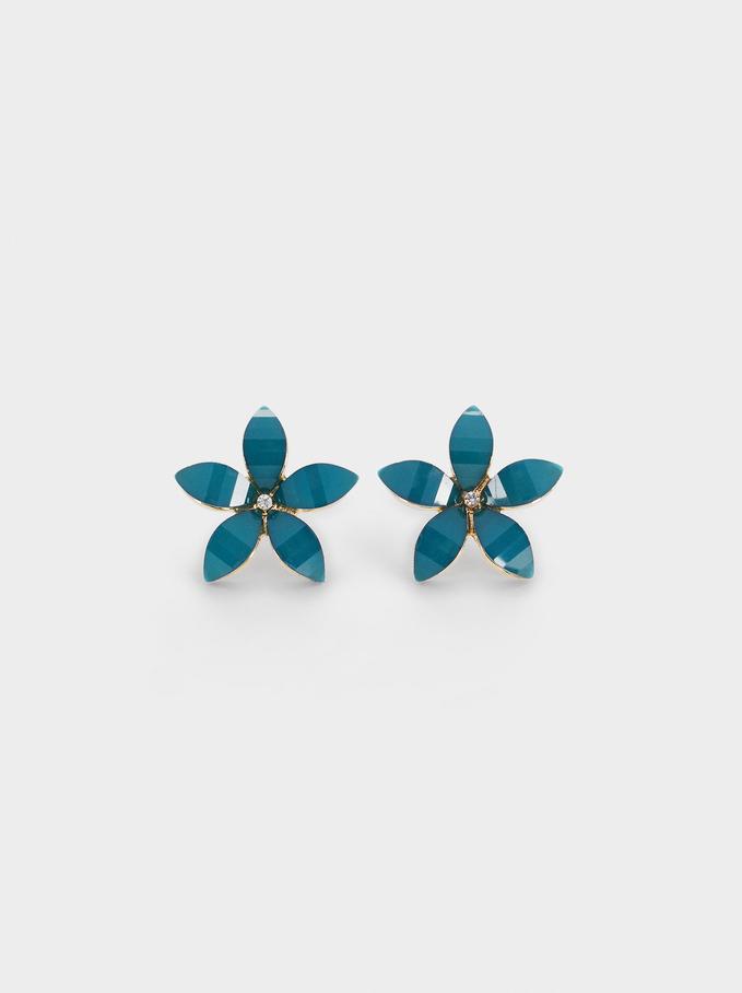 Kurze Ohrringe Mit Zierblume Und Zierkristallen, Grau, hi-res