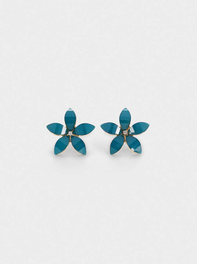 Short Flower Earrings With Crystals, Grey, hi-res