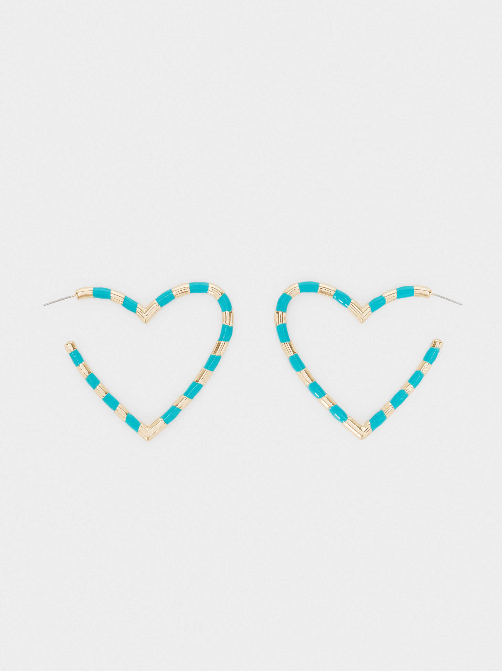 Large Golden Heart Hoop Earrings, Multicolor, hi-res