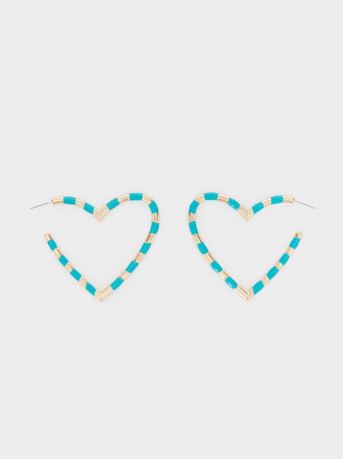 Argolas Compridas Coração, Multicor, hi-res