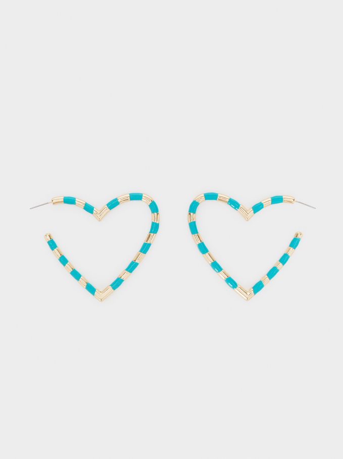 Large Golden Heart Hoop Earrings, Multicolor, hi-res
