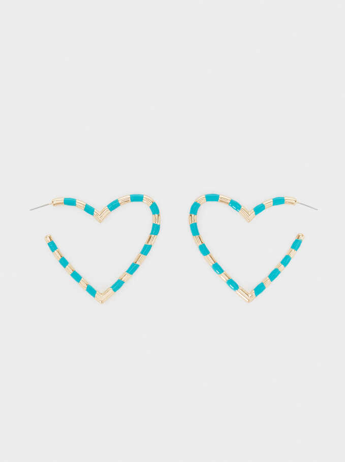 Large Heart Hoop Earrings, Multicolor, hi-res