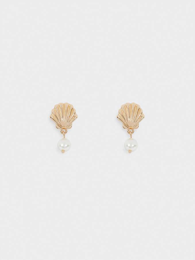 Boucles D'Oreilles Courtes Avec Coquillage Et Perle, Doré, hi-res