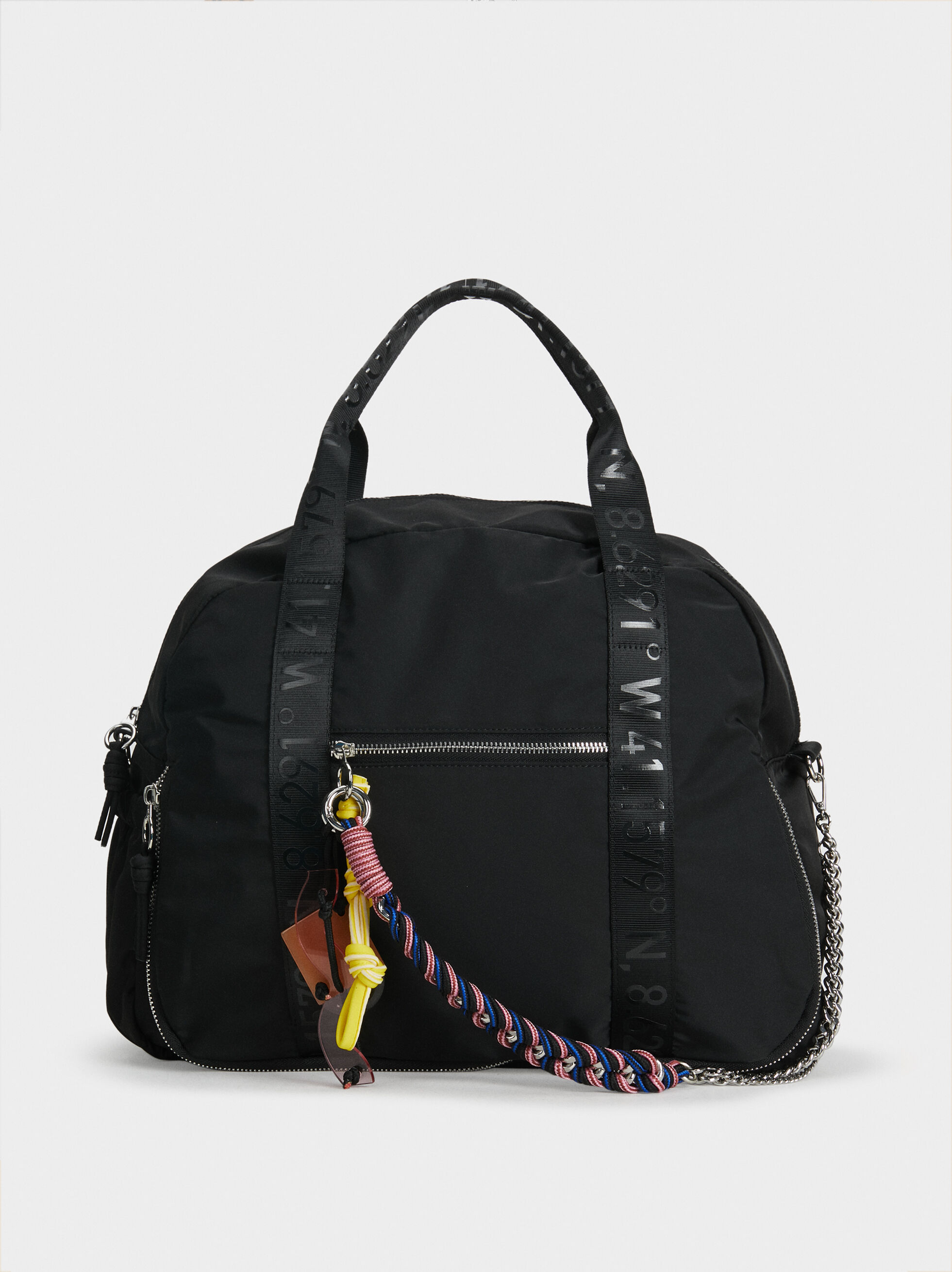 Nylon Sports Bag, Black, hi-res