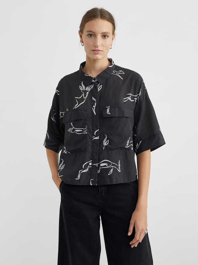 Animal-Print Shirt, Black, hi-res