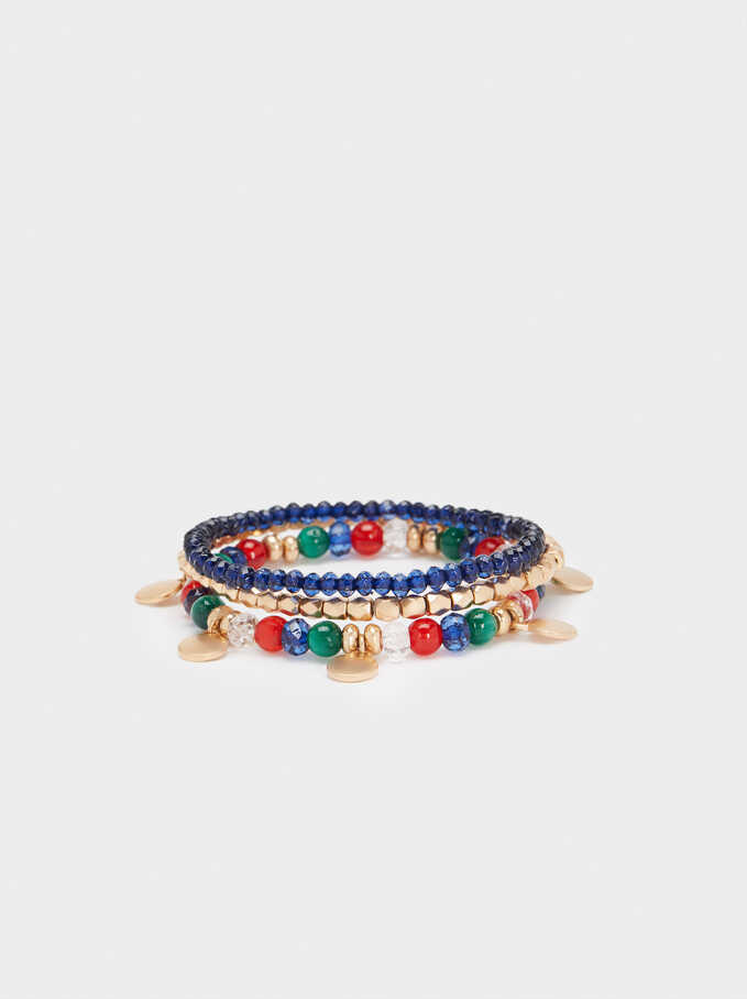Gold Elastic Bracelet With Faux Pearl Detail, Multicolor, hi-res