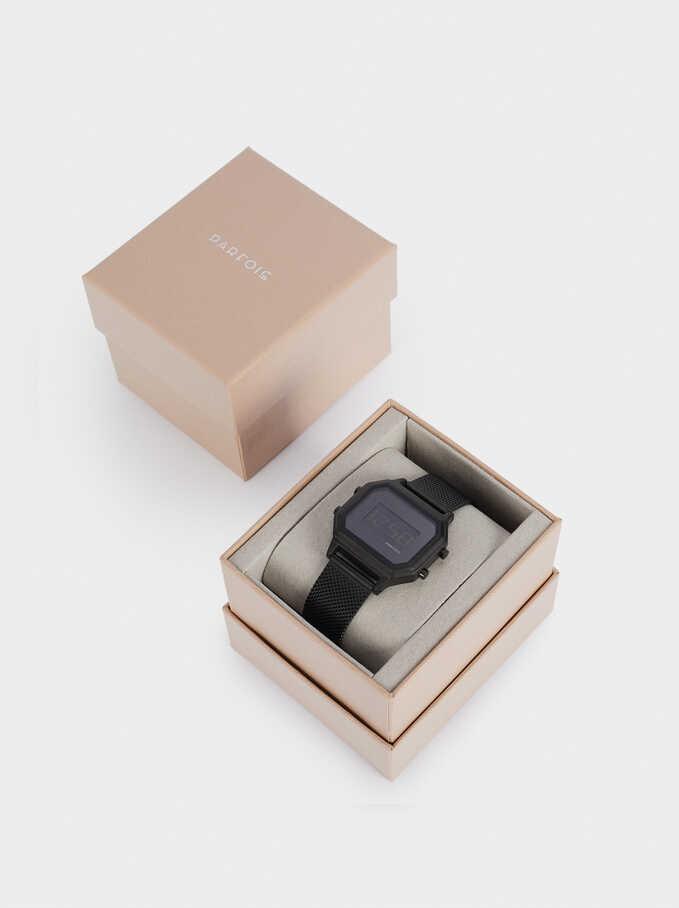 Reloj Digital Caja Cuadrada, Negro, hi-res
