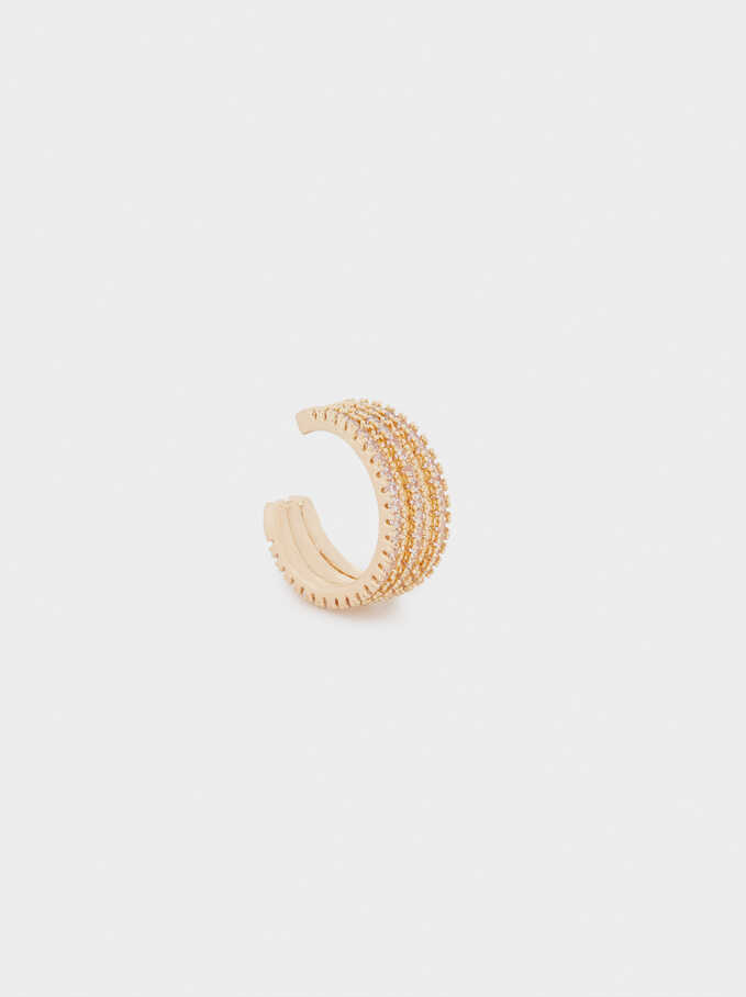 Small Crystal Earcuff, Golden, hi-res