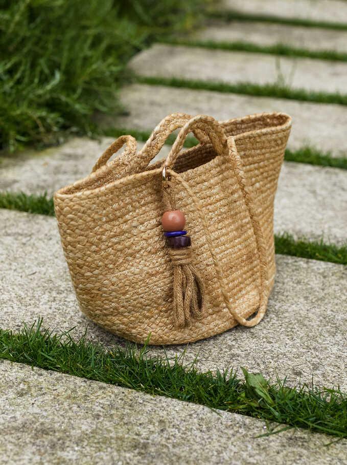 Bolso Shopper Textura Rafia, Beige, hi-res