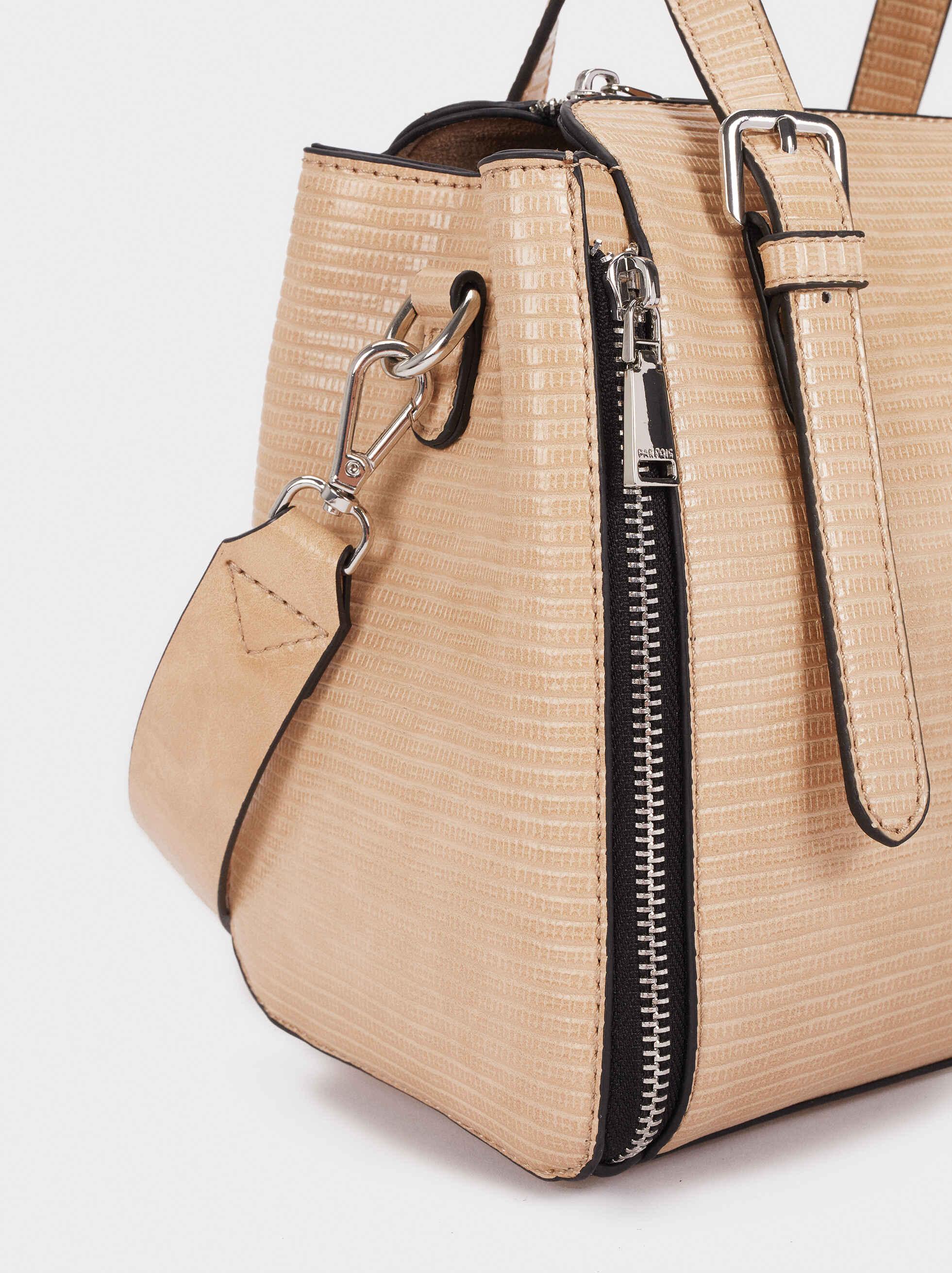 Embossed Animal Print Tote Bag With Zip Detailing, Beige, hi-res