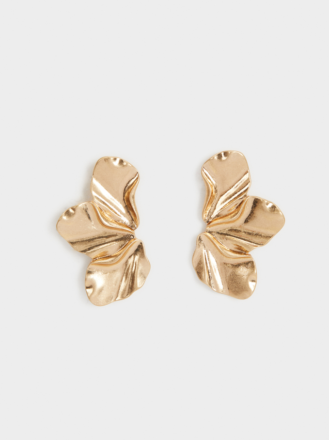 Medium Flower Earrings, Golden, hi-res