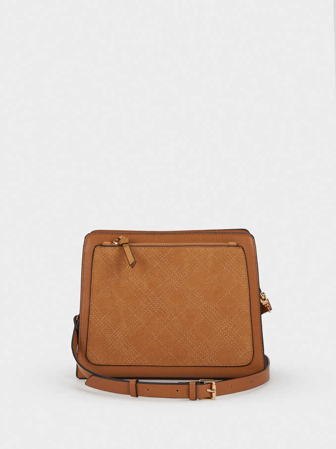 Shoulder Bag With Topstitching, Camel, hi-res