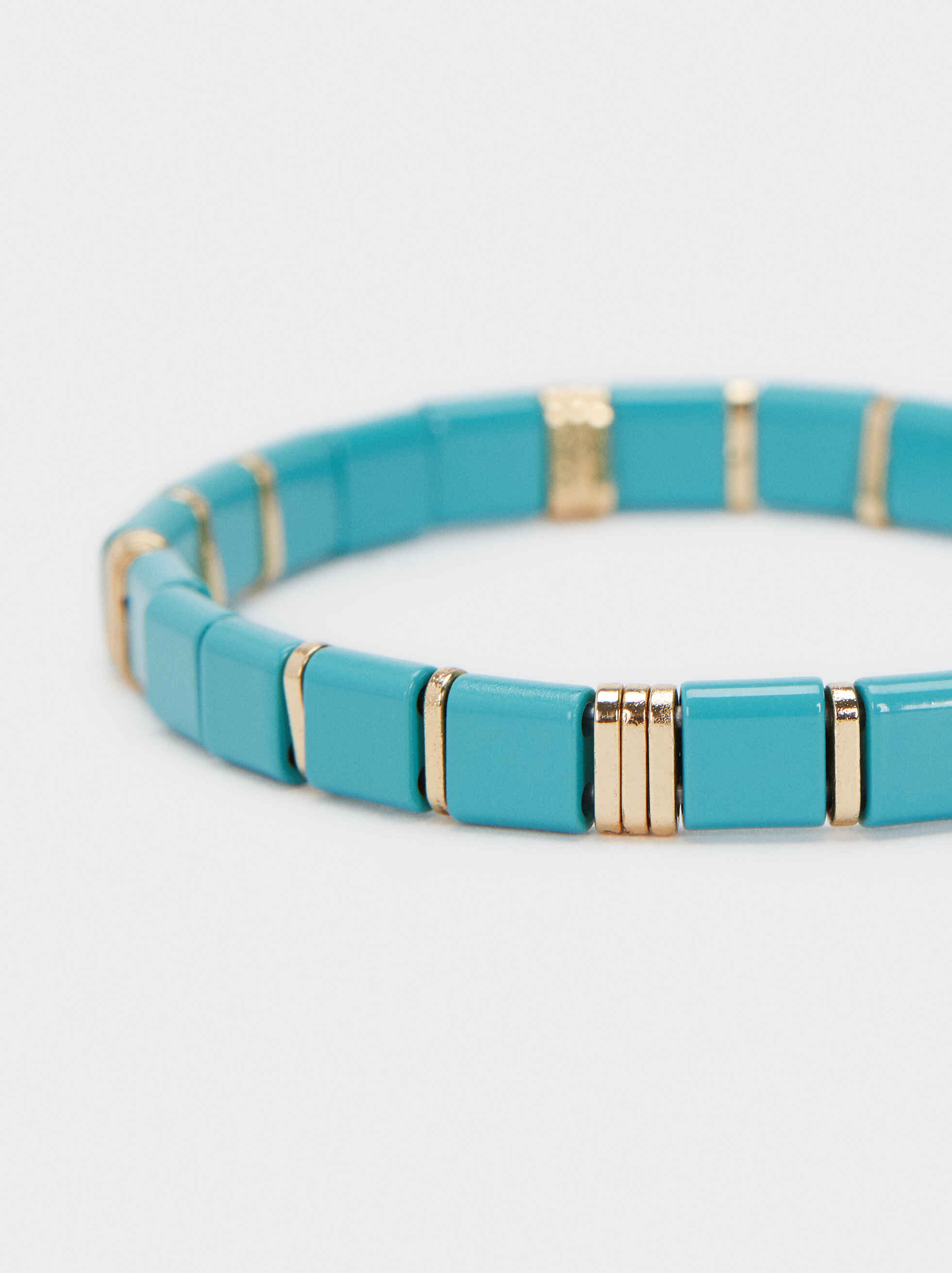 Elastic Bracelet With Stones, Beige, hi-res