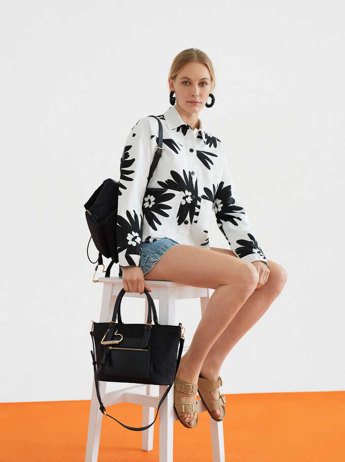Camisa Oversize Estampado Floral, Crudo, hi-res